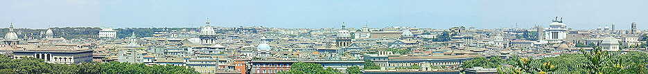 Rome's centre seen from the Janiculum - the Rome city centre map will show you their exact location